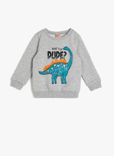 Koton Kids Baskılı Sweatshirt Gri
